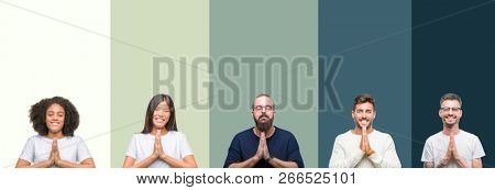 Collage of group of young people over colorful isolated background praying with hands together asking for forgiveness smiling confident.