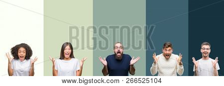 Collage of group of young people over colorful isolated background celebrating crazy and amazed for success with arms raised and open eyes screaming excited. Winner concept
