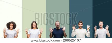 Collage of group of young people over colorful isolated background showing and pointing up with fingers number nine while smiling confident and happy.