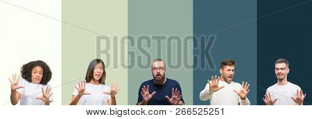 Collage of group of young people over colorful isolated background afraid and terrified with fear expression stop gesture with hands, shouting in shock. Panic concept.