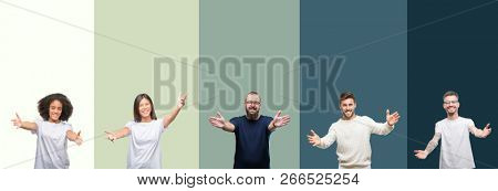 Collage of group of young people over colorful isolated background looking at the camera smiling with open arms for hug. Cheerful expression embracing happiness.