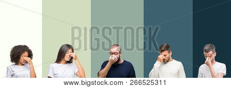 Collage of group of young people over colorful isolated background tired rubbing nose and eyes feeling fatigue and headache. Stress and frustration concept.