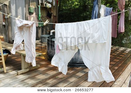 Vintage clothes drying on a line