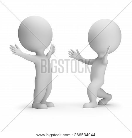3d Small People - Happy Meeting Of Two Friends. 3d Image. White Background.