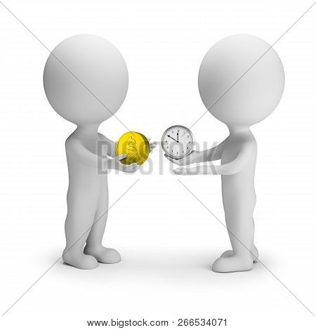 3d Small People Change Money For Time. 3d Image. White Background.