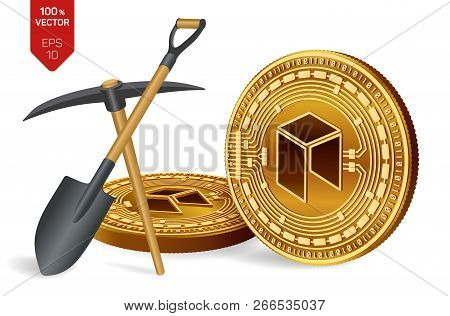 Neo Mining Concept. 3d Isometric Physical Bit Coin With Pickaxe And Shovel. Digital Currency. Crypto
