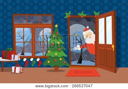 Flat Wind Illustration Cartoon Style. Open Door And Window Overlooking The Snow-covered Trees. Chris