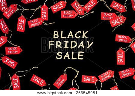 Red Shopping Sale Discount Labels On Black Isolated Background With Wooden Text