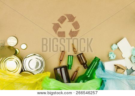 Metal Glass Paper Recycle Concept, Brown Recycle Symbol Sign With Sorted Metal Cans And Jars, Glass