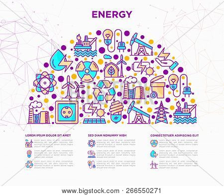 Energy Concept In Half Circle With Thin Line Icons: Factory, Oil Platform, Hydropower, Wind Energy,