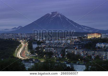 Summer Cityscape Of Kamchatka Peninsula: Night View Of Urban Development Of Petropavlovsk-kamchatsky