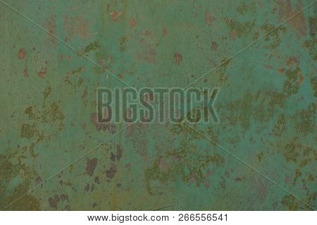 Green Metal Texture Of Dirty Iron Wall