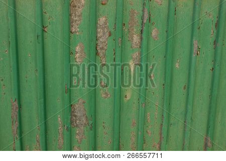 Green Metal Texture From An Old Shabby Iron Wall