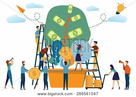 Business People And The Plant Of Money Concept. Man And Woman Activities With Tree Of Money And Work