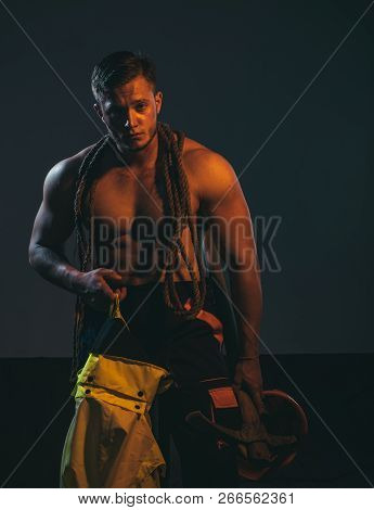 Stay Out, Under Construction. Muscular Man Worker. Hard Worker With Muscular Torso. Construction Wor