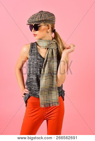 Woman Maintaining Fashion Blog. Beauty And Fashion Look Of Vogue Model. Hipster Woman With Fashion M