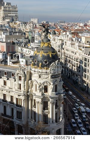 Madrid, Spain - January 24, 2018:  Amazing Panoramic View Of City Of Madrid From Circulo De Bellas A