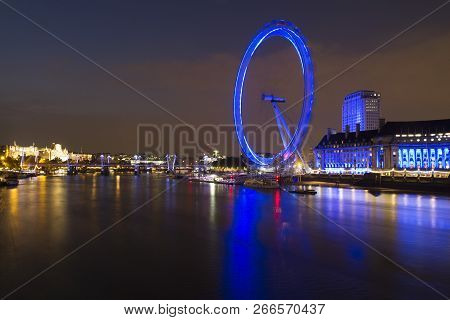 London, England, Uk - May 17,2014: London Eye Skyline View At Night
