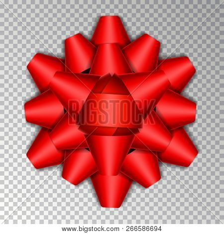 Red Ribbon Bow Isolated On Background. Vector Bow Ribbon For Gift Box Decor. Top View Of Christmas G