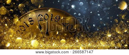 New Year S Eve 2019. Festive Old Clock