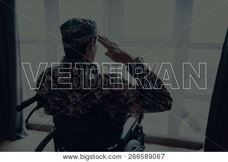 Military Veteran. Disabled Man In A Wheelchair. Man Sits In Front Of Window. Man Looks Into Window.