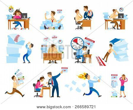 Deadline At Work Icons Set. Boss Shouting On Employee To Work Faster.tired And Stressed Workers In O