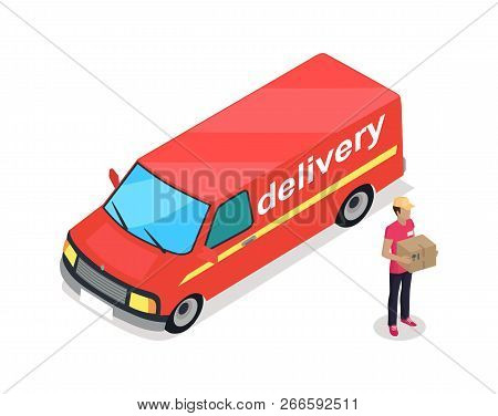 Delivery Car And Person Wearing Uniform Of Deliverer 3d Isometric Icons Set. Delivering Service Auto