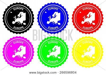 Europe - Rubber Stamp - Vector, Europe Continent Map Pattern - Sticker - Black, Blue, Green, Yellow,