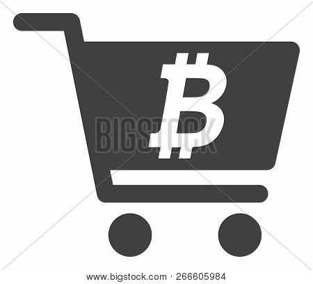Bitcoin Webshop Icon On A White Background. Isolated Bitcoin Webshop Symbol With Flat Style.