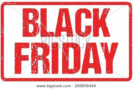 Black Friday Typography Isolated On White. Rubber Stamp Imitation