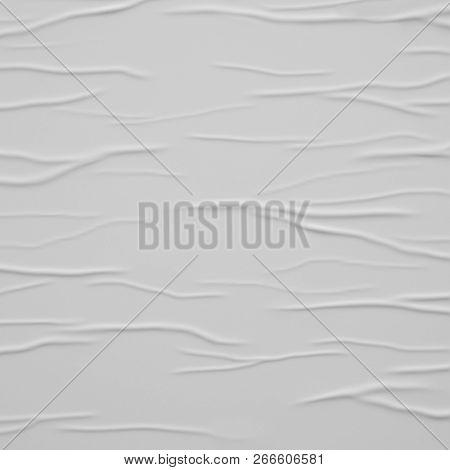 Blank White Wrinkled Street Glued Paper Poster Background. 3D Illustration.