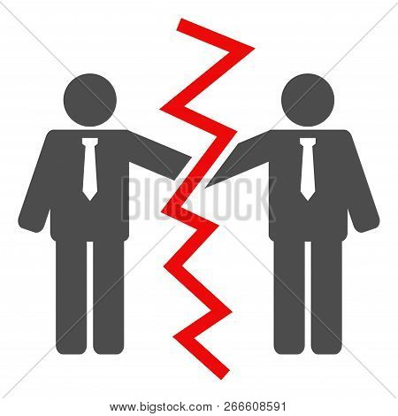 Businessmen Divorce Icon On A White Background. Isolated Businessmen Divorce Symbol With Flat Style.