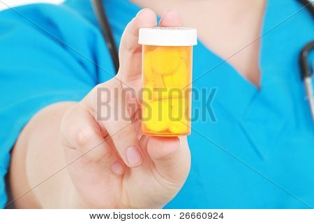 Nurse holds medicine
