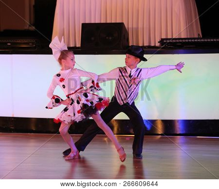 Moscow - March 9, 2018: Unidentified teens age 10-18 compete at artistic dances on the Artistic Dance European Championship, organized by World Dance Artistic Federation