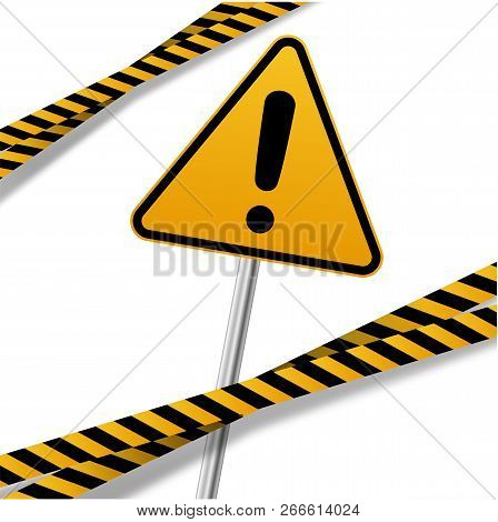 Vector Flat Style Cartoon Illustration Isolated On Background. Black And Yellow Stripes Set. Warning