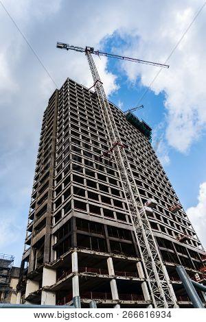 Antwerp, Belgium - 2018-10-02: The Original 87 Meter High Antwerp Tower Skyscraper On The Keyserlei,