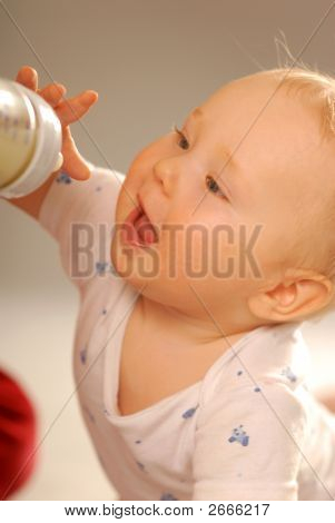 Baby During The Drinking Of Milk