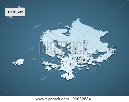 Isometric 3d Europe Map,  Vector Illustration With Cities, Borders, Capital, Administrative Division