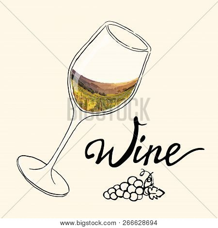 Hand Drawn Vector Illustration  Glass Of Wine With Painting  Grape Valley. Each Elementsl Isolated A