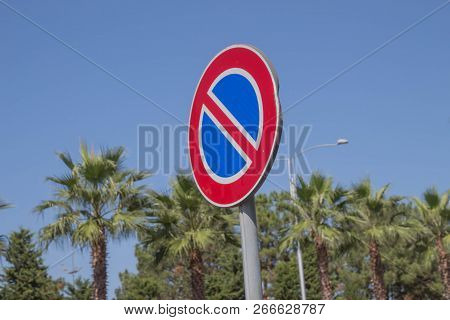 Speed Limit Sign On The Road.traffic Signs Concept. Warning Road Sign On A Street, Road Sign Informi