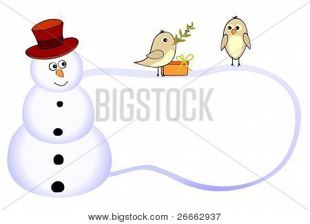 Funny snowman and two birds with olive branch