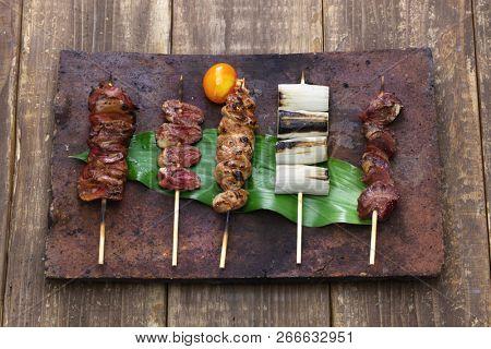 yakitori, japanese grilled chicken skewers variety