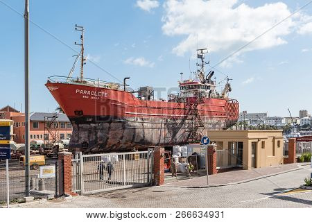 Cape Town, South Africa, August 17, 2018: A Fishing Trawler Being Renovated On Dry Land At The Silo
