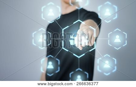 rental service and future technology concept - close up of businessman with virtual hologram of car sharing over black background