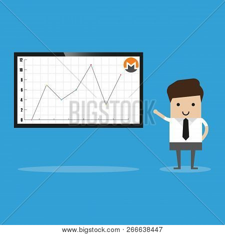 Bitcoin Cryptocurrency Analysis On Whiteboard Vector. Presenter Talking About Infographic And Pie Di