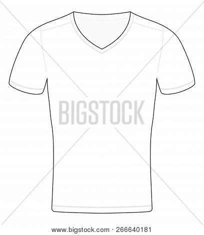 T-shirt Template. Outline Illustration Of A Schematic Sample To Be Colored, Labelled Or Imaged. Isol