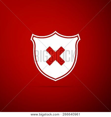 Shield And Cross X Mark Icon Isolated On Red Background. Denied Disapproved Sign. Protection And Saf