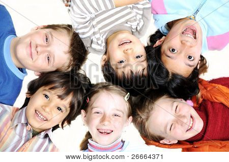 Small group of happy children outdoor