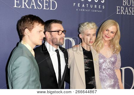 WEST HOLLYWOOD - OCT 29: Lucas Hedges, Joel Edgerton, Troye Sivan, Nicole Kidman arriving at the Premiere of Boy Erased at the Directors Guild of America on October 29, 2016 in West Hollywood, CA