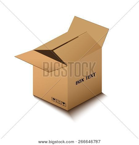 Corton Box, Postal Packing, Box On White Background, Vector Illustration